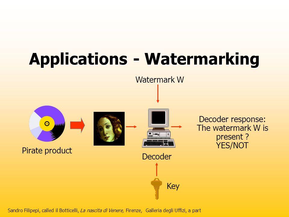 Applications - Watermarking Sandro Filipepi, called il Botticelli, La nascita di Venere, Firenze, Galleria degli Uffizi, a part Decoder response: The