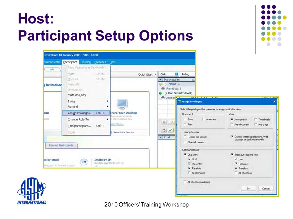 2010 Officers Training Workshop Host: Participant Setup Options