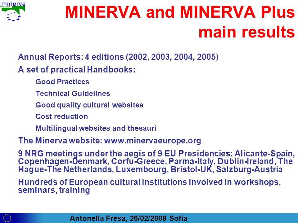 Antonella Fresa, 26/02/2008 Sofia MINERVA and MINERVA Plus main results Annual Reports: 4 editions (2002, 2003, 2004, 2005) A set of practical Handboo