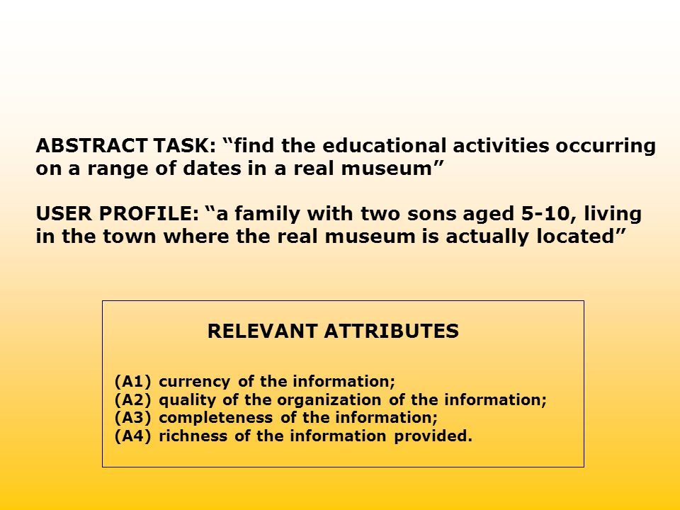 ABSTRACT TASK: find the educational activities occurring on a range of dates in a real museum USER PROFILE: a family with two sons aged 5-10, living in the town where the real museum is actually located (A1) currency of the information; (A2) quality of the organization of the information; (A3) completeness of the information; (A4) richness of the information provided.