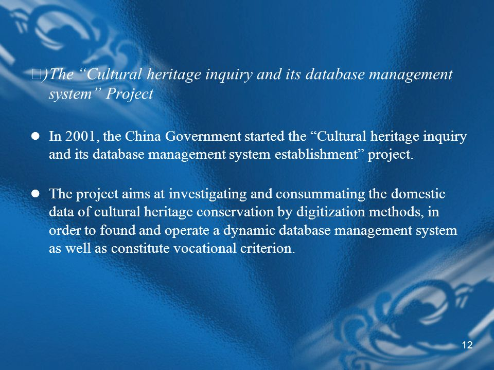 12 )The Cultural heritage inquiry and its database management system Project In 2001, the China Government started the Cultural heritage inquiry and its database management system establishment project.