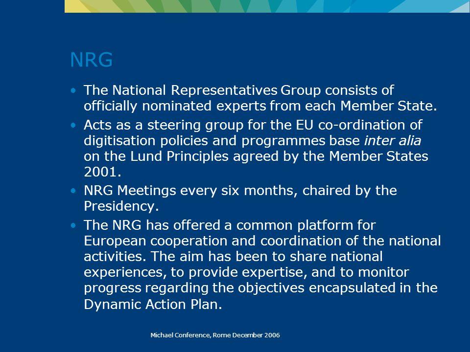 Michael Conference, Rome December 2006 NRG The National Representatives Group consists of officially nominated experts from each Member State.