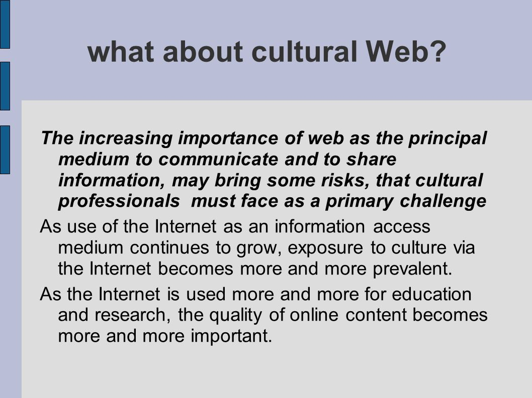 what about cultural Web? The increasing importance of web as the principal medium to communicate and to share information, may bring some risks, that