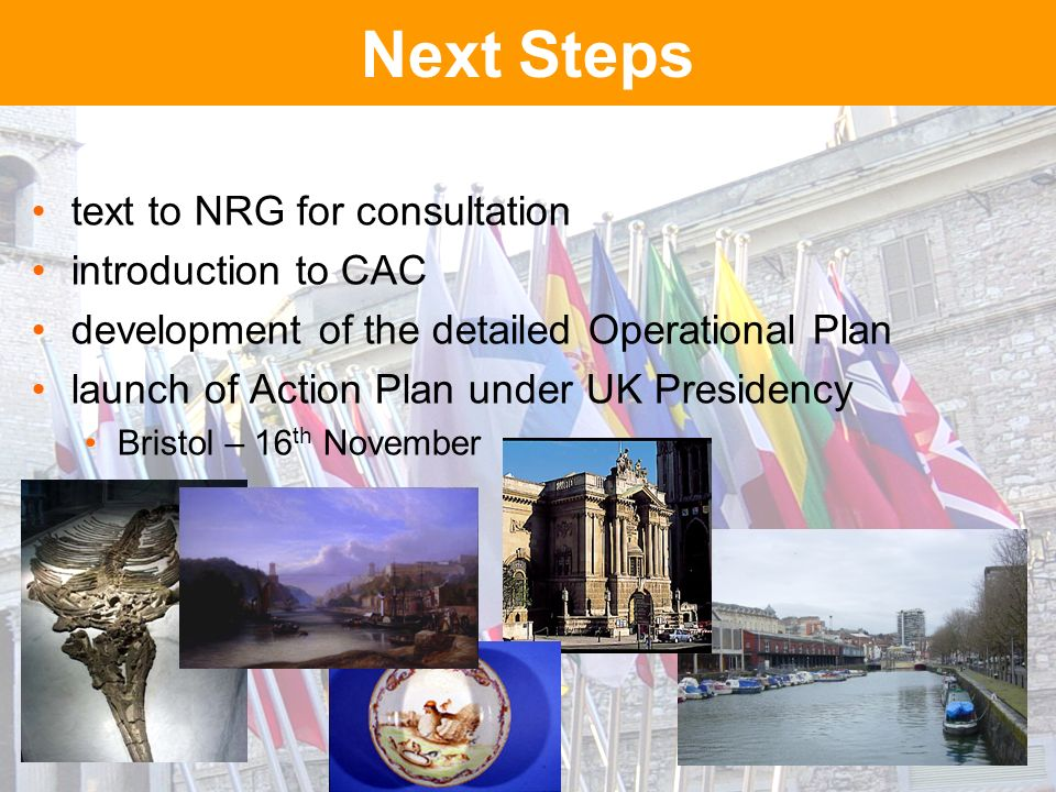 Next Steps text to NRG for consultation introduction to CAC development of the detailed Operational Plan launch of Action Plan under UK Presidency Bristol – 16 th November