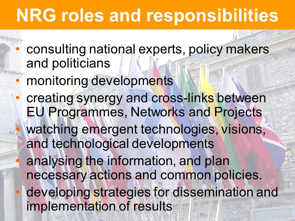 NRG roles and responsibilities consulting national experts, policy makers and politicians monitoring developments creating synergy and cross-links between EU Programmes, Networks and Projects watching emergent technologies, visions, and technological developments analysing the information, and plan necessary actions and common policies.
