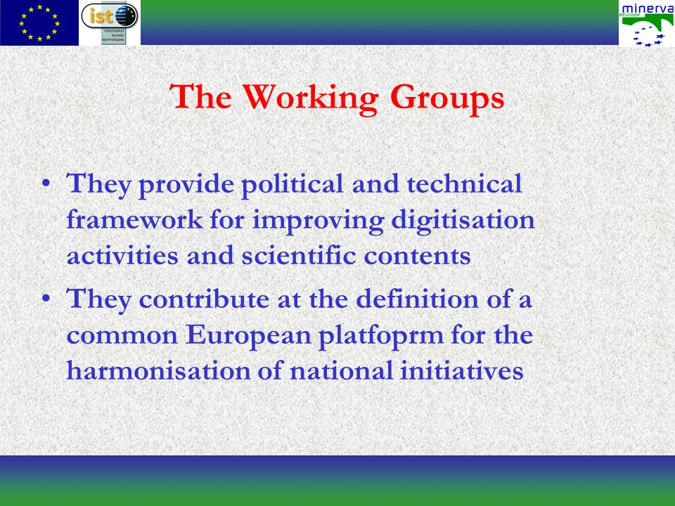 The Working Groups They provide political and technical framework for improving digitisation activities and scientific contents They contribute at the definition of a common European platfoprm for the harmonisation of national initiatives