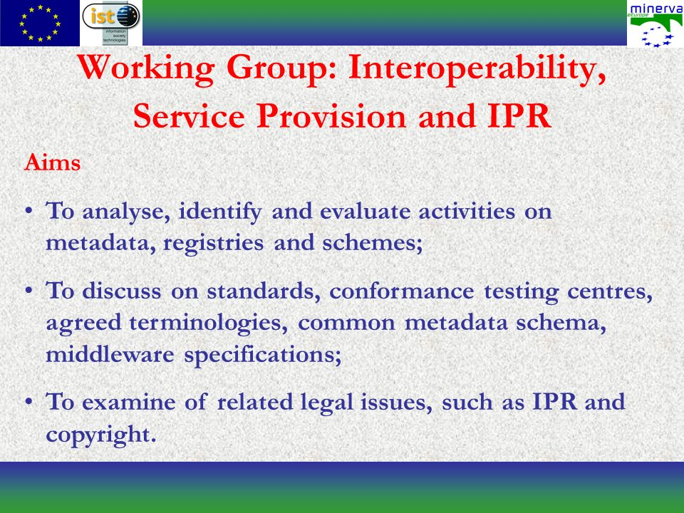 Working Group: Interoperability, Service Provision and IPR Aims To analyse, identify and evaluate activities on metadata, registries and schemes; To discuss on standards, conformance testing centres, agreed terminologies, common metadata schema, middleware specifications; To examine of related legal issues, such as IPR and copyright.