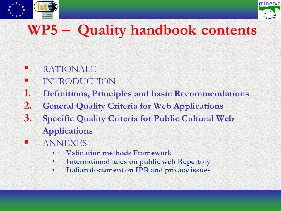 WP5 – Quality handbook contents RATIONALE INTRODUCTION 1.