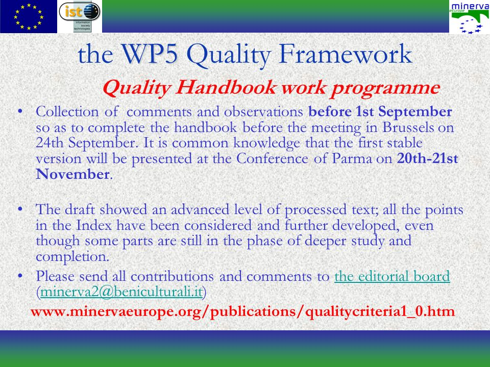 Collection of comments and observations before 1st September so as to complete the handbook before the meeting in Brussels on 24th September.
