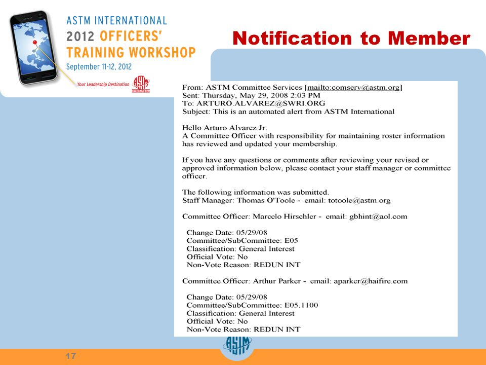 Notification to Member 17