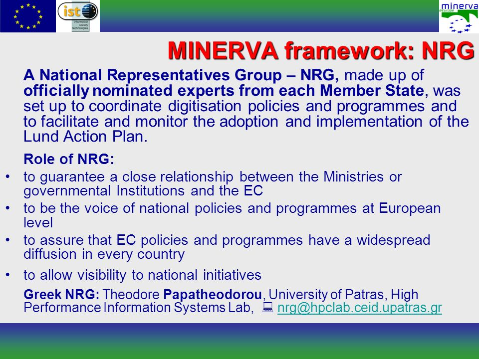 A National Representatives Group – NRG, made up of officially nominated experts from each Member State, was set up to coordinate digitisation policies
