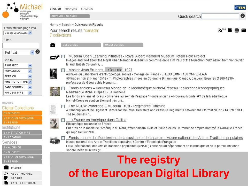 EPOCH - Roma 25th February 2008Rossella Caffo - MiBAC The registry of the European Digital Library