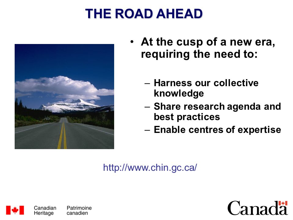 THE ROAD AHEAD At the cusp of a new era, requiring the need to: –Harness our collective knowledge –Share research agenda and best practices –Enable centres of expertise http://www.chin.gc.ca/