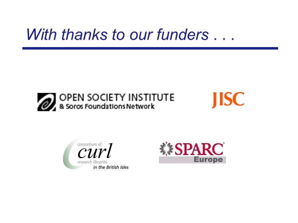 With thanks to our funders...