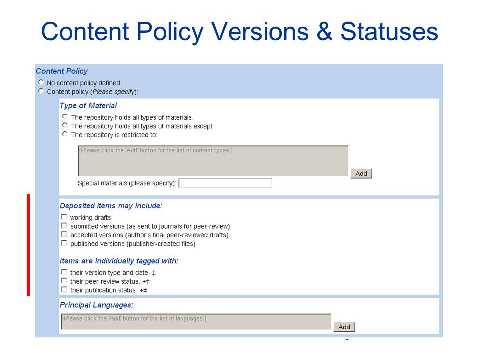 Content Policy Versions & Statuses