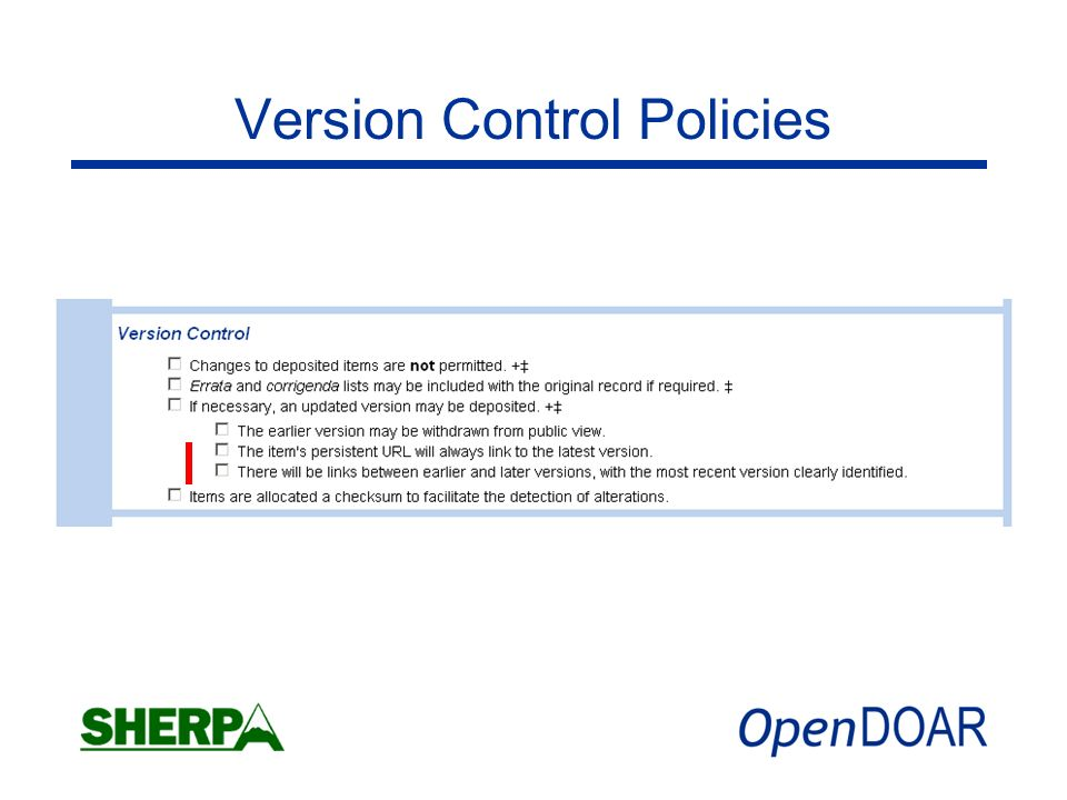 Version Control Policies