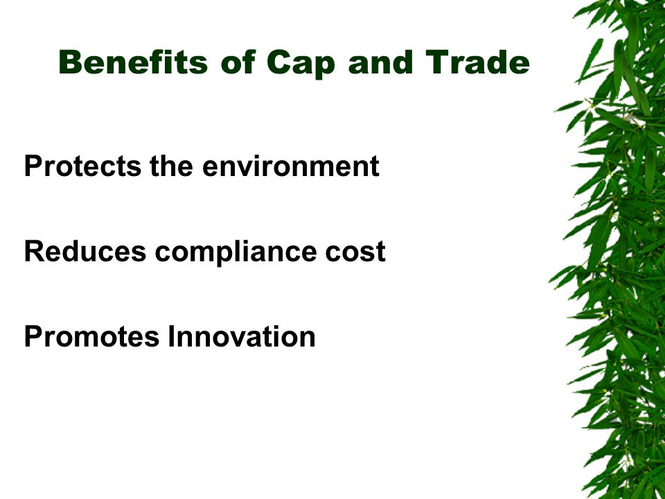 Benefits of Cap and Trade Protects the environment Reduces compliance cost Promotes Innovation