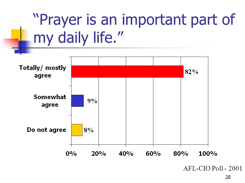 28 Prayer is an important part of my daily life. AFL-CIO Poll