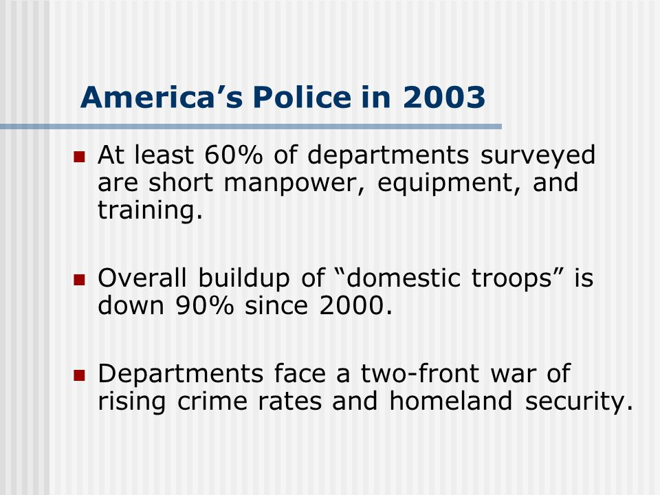 Americas Police in 2003 At least 60% of departments surveyed are short manpower, equipment, and training.
