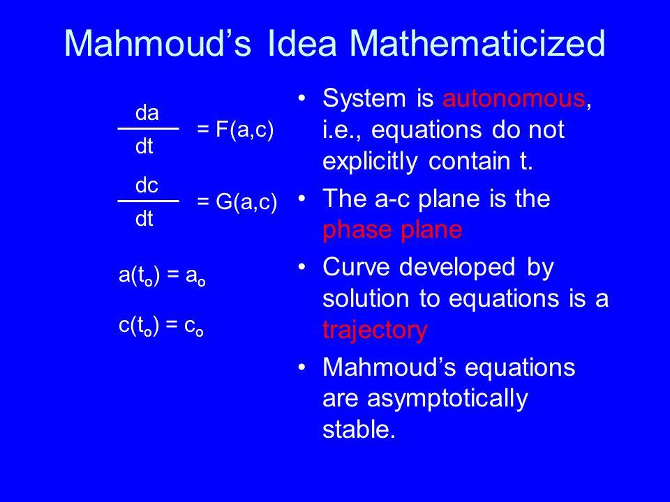 Mahmouds Idea Mathematicized System is autonomous, i.e., equations do not explicitly contain t.