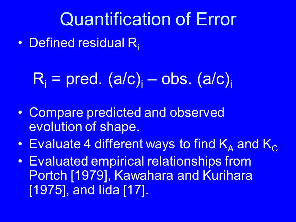 Quantification of Error Defined residual R i Compare predicted and observed evolution of shape.