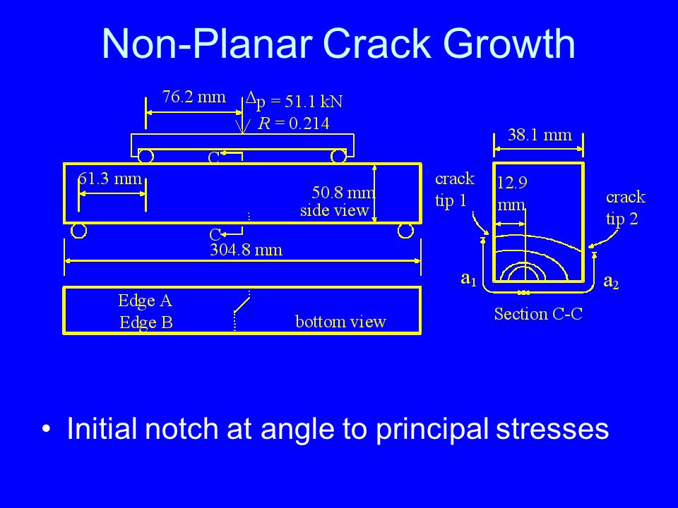 Non-Planar Crack Growth Initial notch at angle to principal stresses