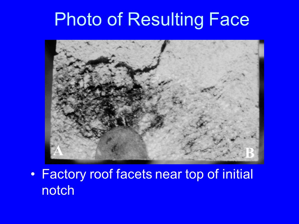 Photo of Resulting Face Factory roof facets near top of initial notch A B