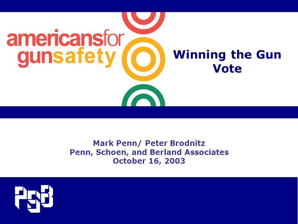 Winning the Gun Vote Mark Penn/ Peter Brodnitz Penn, Schoen, and Berland Associates October 16, 2003