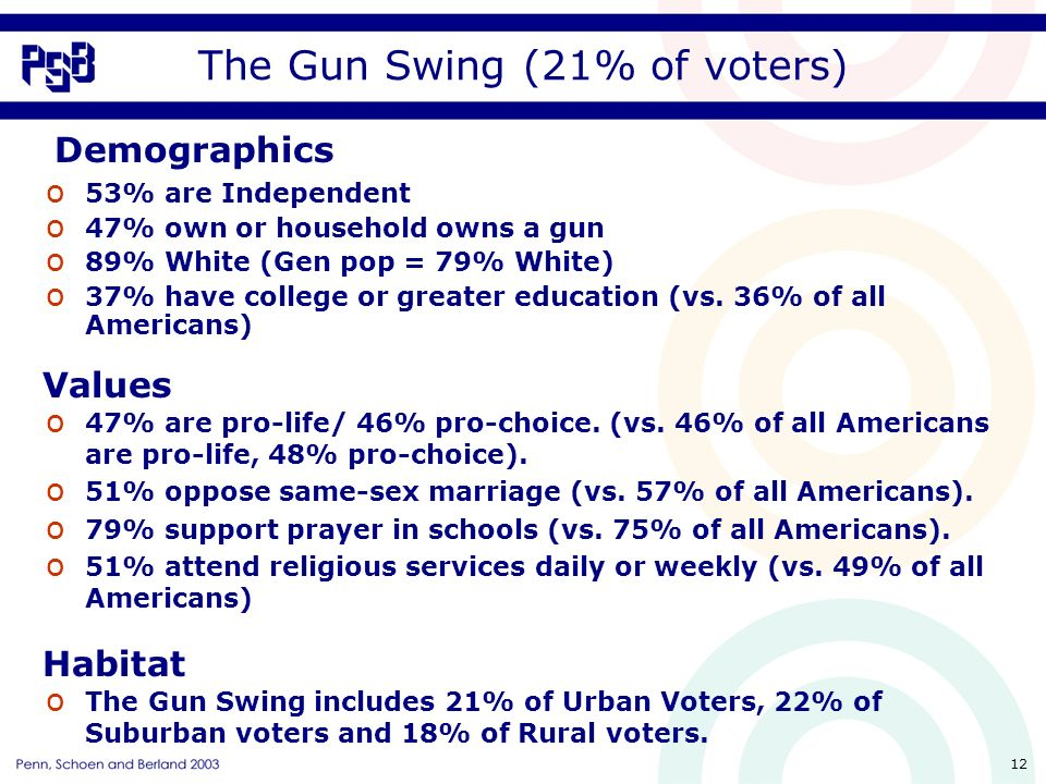 12 The Gun Swing (21% of voters) o 53% are Independent o 47% own or household owns a gun o 89% White (Gen pop = 79% White) o 37% have college or greater education (vs.