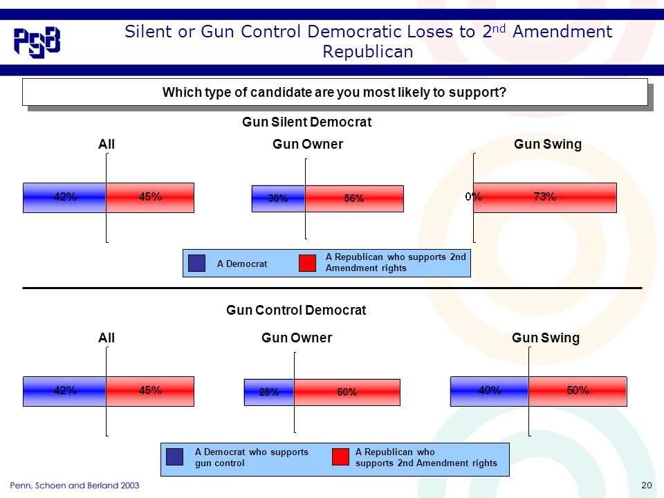 20 Silent or Gun Control Democratic Loses to 2 nd Amendment Republican Which type of candidate are you most likely to support.