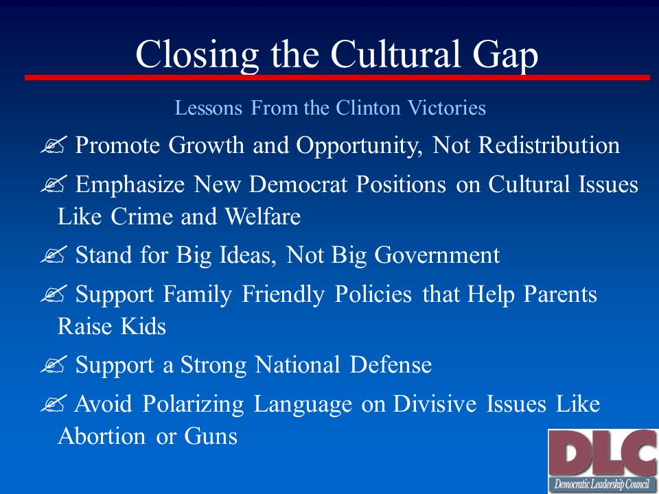 Closing the Cultural Gap Lessons From the Clinton Victories Promote Growth and Opportunity, Not Redistribution Emphasize New Democrat Positions on Cul