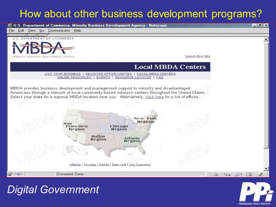 Digital Government How about other business development programs?