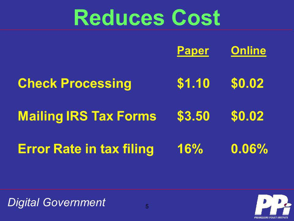 Digital Government 5 Reduces Cost PaperOnline Check Processing$1.10$0.02 Mailing IRS Tax Forms$3.50$0.02 Error Rate in tax filing16%0.06%