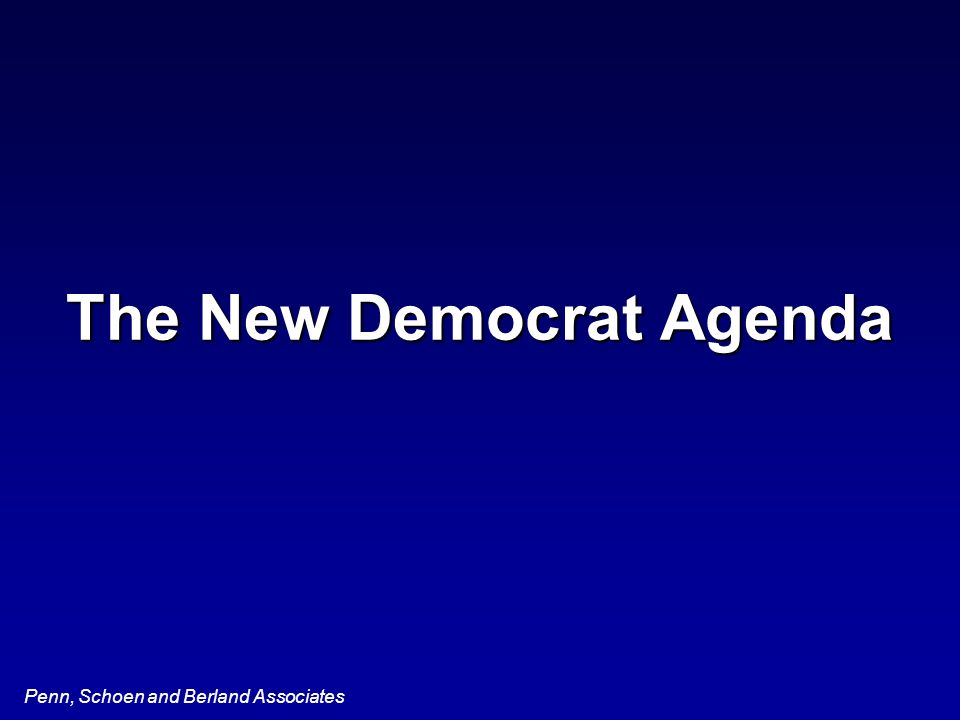 Penn, Schoen and Berland Associates The New Democrat Agenda