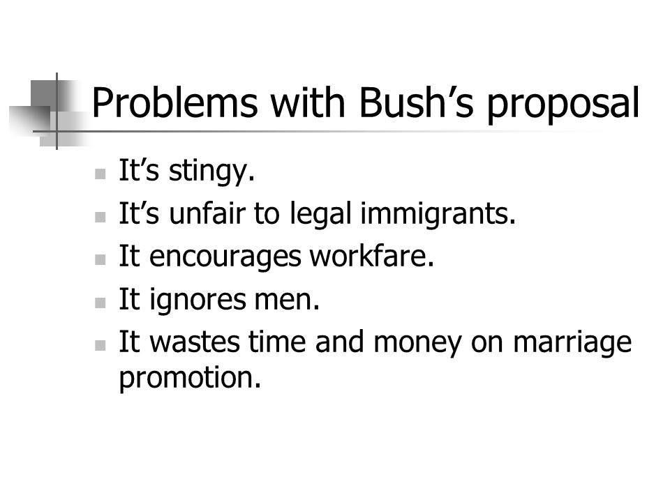 Problems with Bushs proposal Its stingy. Its unfair to legal immigrants. It encourages workfare. It ignores men. It wastes time and money on marriage