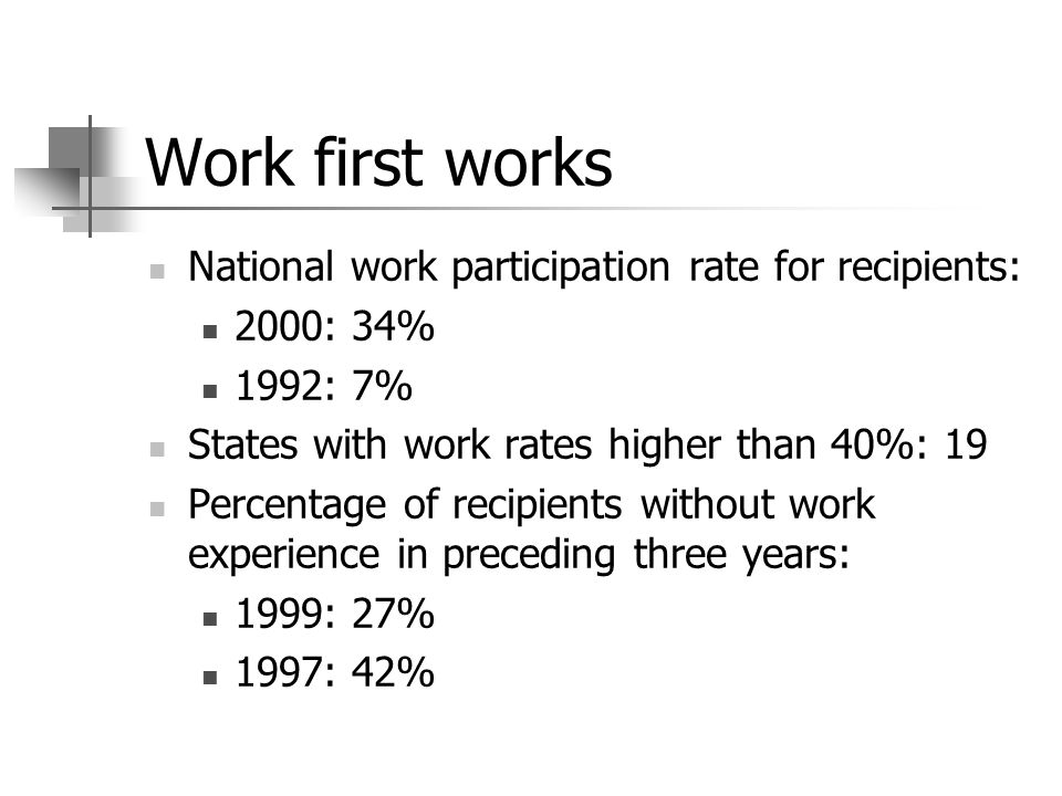 Work first works National work participation rate for recipients: 2000: 34% 1992: 7% States with work rates higher than 40%: 19 Percentage of recipients without work experience in preceding three years: 1999: 27% 1997: 42%