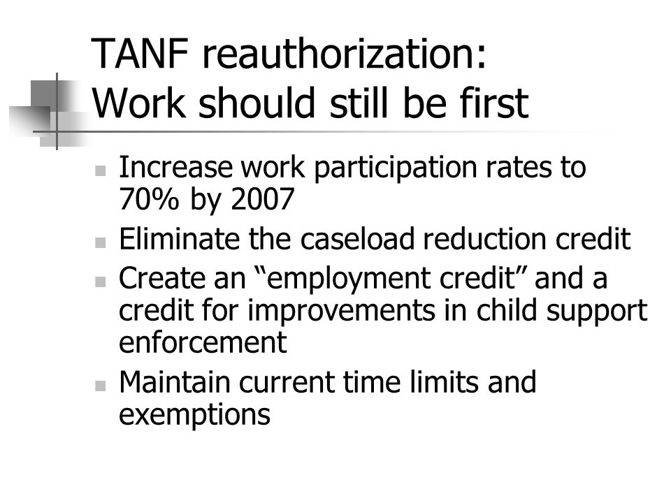 TANF reauthorization: Work should still be first Increase work participation rates to 70% by 2007 Eliminate the caseload reduction credit Create an employment credit and a credit for improvements in child support enforcement Maintain current time limits and exemptions