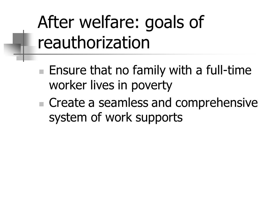 After welfare: goals of reauthorization Ensure that no family with a full-time worker lives in poverty Create a seamless and comprehensive system of work supports