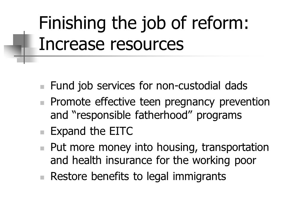 Finishing the job of reform: Increase resources Fund job services for non-custodial dads Promote effective teen pregnancy prevention and responsible f