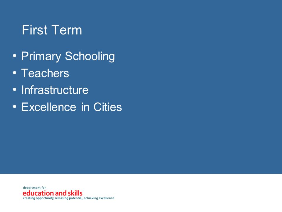 First Term Primary Schooling Teachers Infrastructure Excellence in Cities