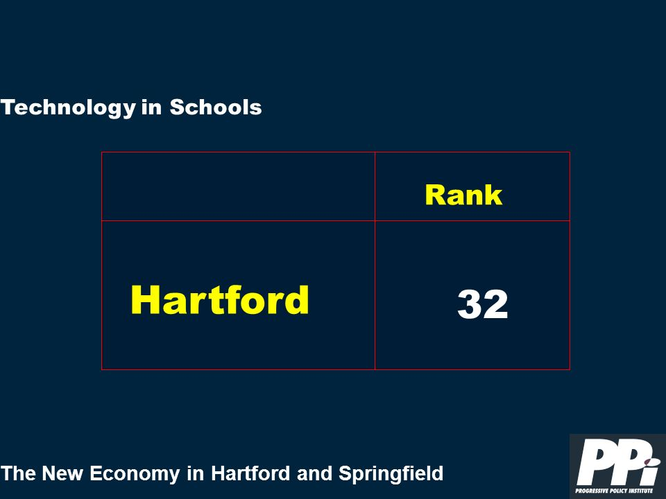 The New Economy in Hartford and Springfield Technology in Schools 42 Hartford Rank 32