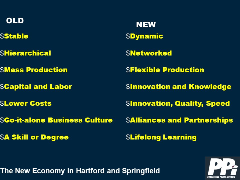 The New Economy in Hartford and Springfield Metropolitan regions that meet the challenges of the New Economy focusing on innovation, learning, and constant adaptation C will be the ones that succeed and prosper.