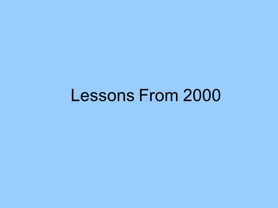 Lessons From 2000