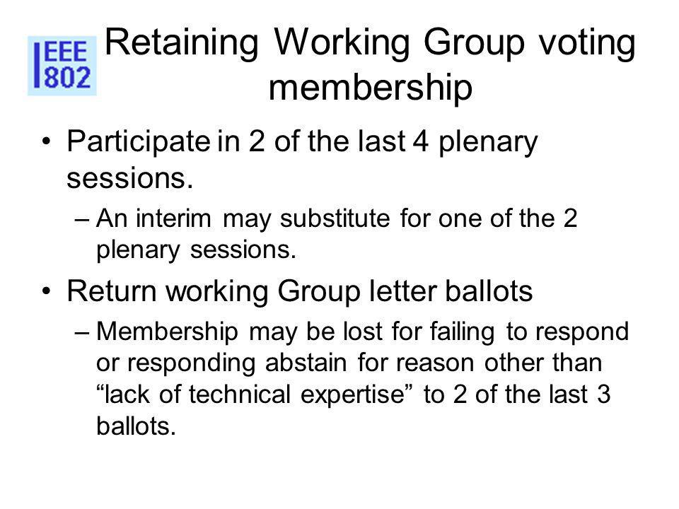 Retaining Working Group voting membership Participate in 2 of the last 4 plenary sessions.
