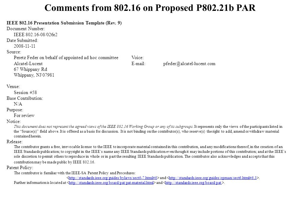Comments from 802.16 on Proposed P802.21b PAR IEEE 802.16 Presentation Submission Template (Rev.