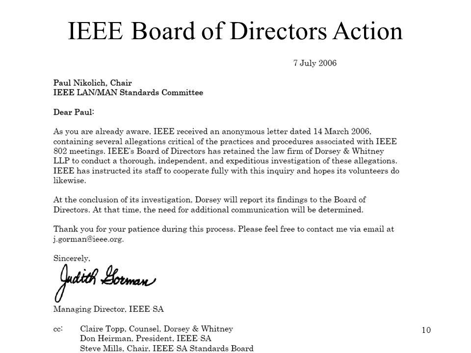 10 IEEE Board of Directors Action