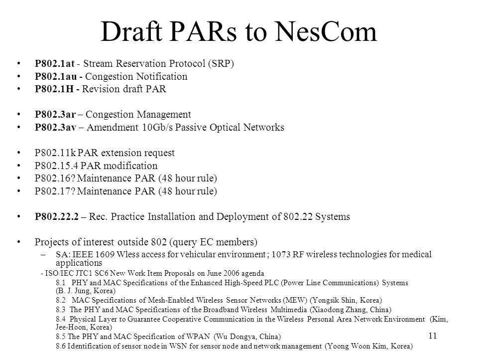 11 Draft PARs to NesCom P802.1at - Stream Reservation Protocol (SRP) P802.1au - Congestion Notification P802.1H - Revision draft PAR P802.3ar – Conges