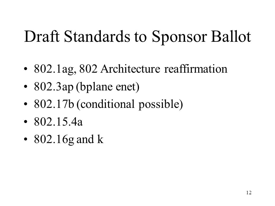 12 Draft Standards to Sponsor Ballot 802.1ag, 802 Architecture reaffirmation 802.3ap (bplane enet) 802.17b (conditional possible) 802.15.4a 802.16g and k
