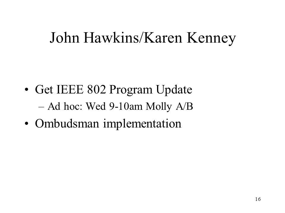 16 John Hawkins/Karen Kenney Get IEEE 802 Program Update –Ad hoc: Wed 9-10am Molly A/B Ombudsman implementation