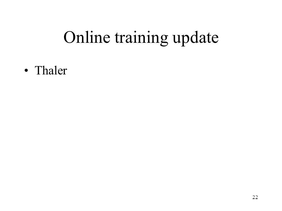 22 Online training update Thaler